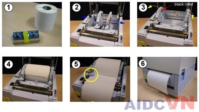Quy trình lắp đặt giấy cho máy in mã vạch SATO CT412i 300dpi