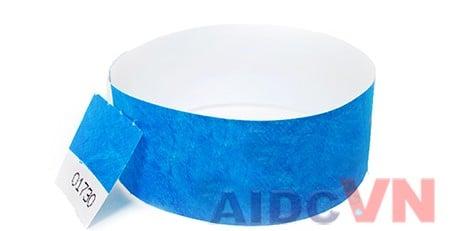 Mẫu vòng đeo tay y tế Tyvek màu xanh dương