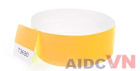 Mẫu vòng đeo tay y tế Tyvek màu cam