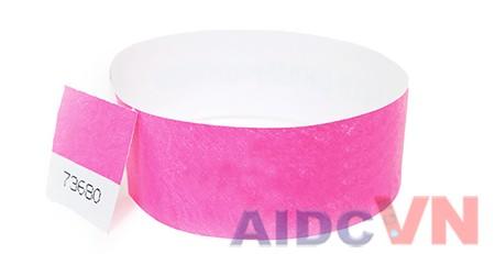 Mẫu vòng đeo tay y tế Tyvek màu hồng