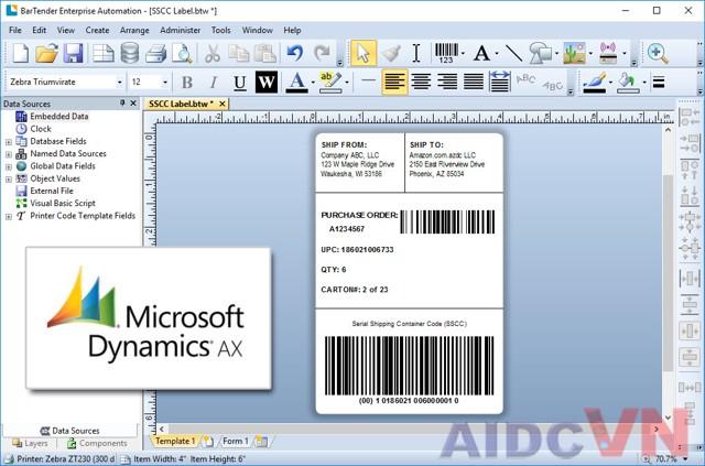 Phần mềm mã vạch Bartender thiết kế tem in
