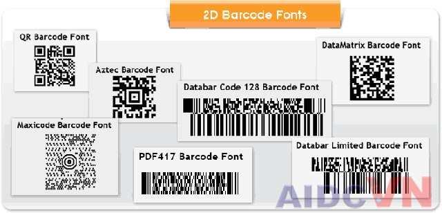 Phông chữ mã vạch 2D thường dùng