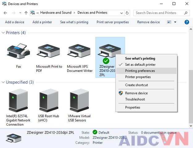 Thiết lập máy in mã vạch Zebra ZD410