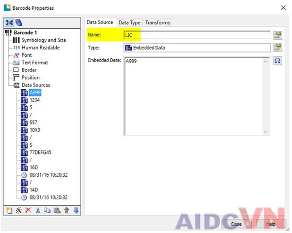 Nguồn cấp dữ liệu trong phần mềm mã vạch Bartender