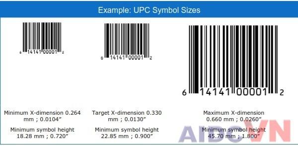 Kích thước mã vạch UPC