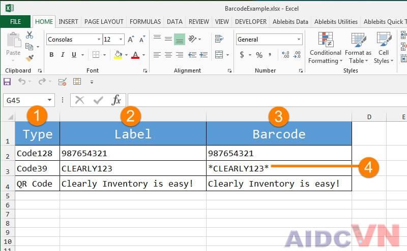 Tạo mã vạch sản phẩm bằng Excel