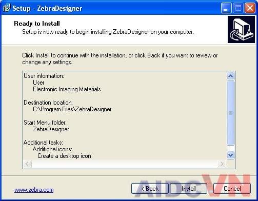 Cài đặt ZebraDesigner và driver máy in mã vạch Zebra - Bước 5