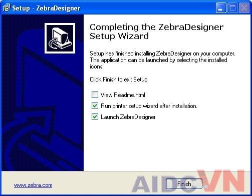 Cài đặt ZebraDesigner và driver máy in mã vạch Zebra - Bước 6
