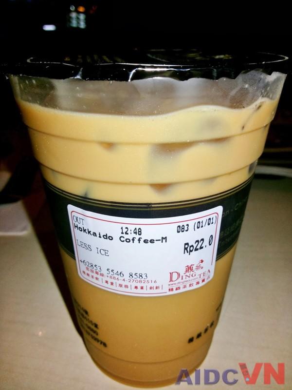 Ví dụ về tem nhãn trà sữa Ding Tea