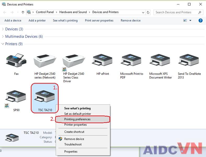 Bước 1: Thiết lập máy in mã vạch trong Devices and printers