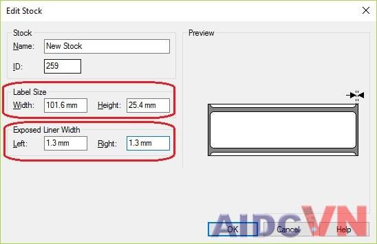 Bước 3: Điền kích thước khổ label để set chính xác