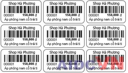 Ví dụ về tem nhãn mã vạch cho shop quần áo
