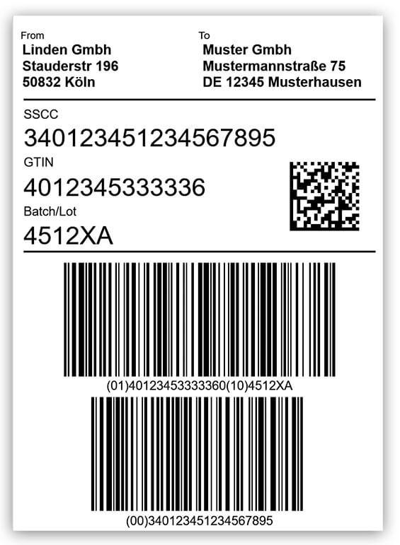 Nhãn hậu cần GS1 với mã vạch 2D Datamatrix