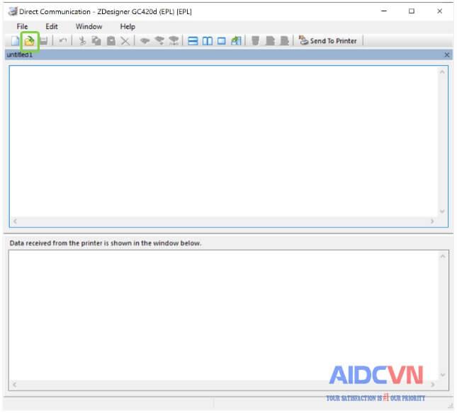 Nhấp vào biểu tượng Mở tệp và chọn tệp nhãn ZPL từ máy tính của bạn.